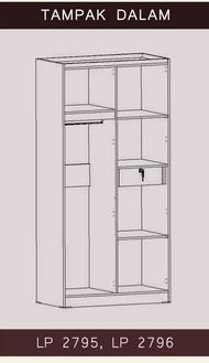 Tampak Dalam Lemari Pakaian 2 Pintu LP 2795 Graver Furniture