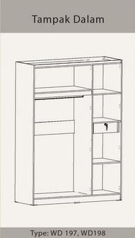 Tampak Dalam Lemari Pakaian 3 Pintu Diamond Benefit Furniture
