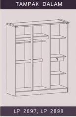 Tampak Dalam Lemari Pakaian 3 Pintu Natalie Graver Furniture