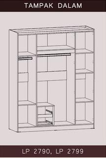 Tampak Dalam Lemari Pakaian 4 Pintu Bougenville Graver Furniture