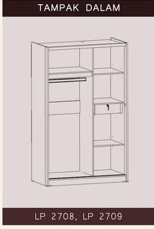 Tampak Dalam Lemari Pakaian Sliding Bougenville Benefit Furniture